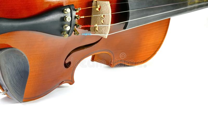 Violin isolated on white. Music background royalty free stock images