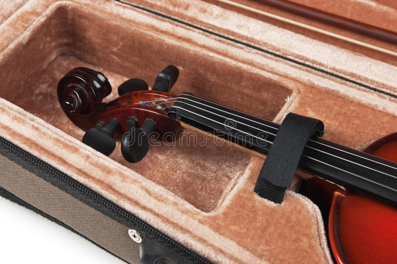 Violin in its case on white. Background royalty free stock photo