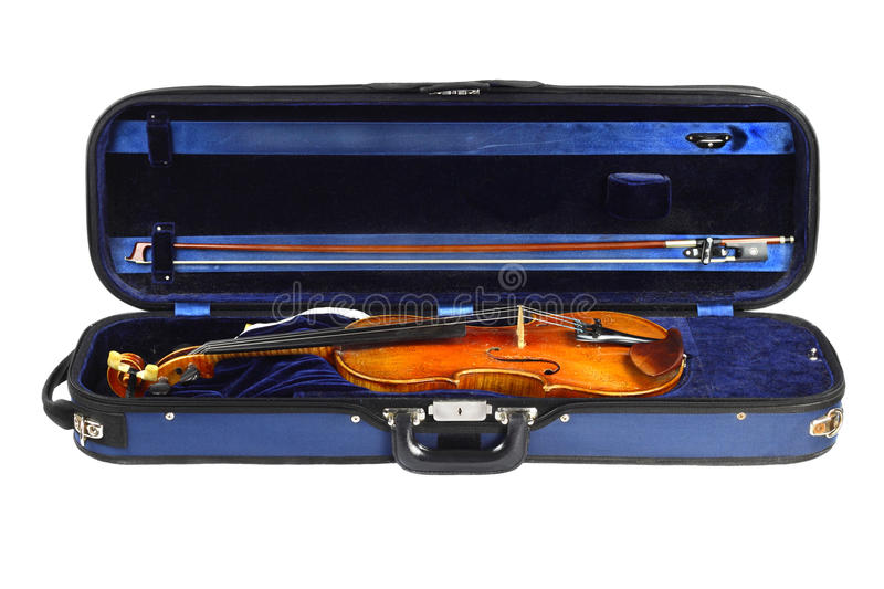 Violin lair. Violin and bow in a blue velvet carrying case isolated on white royalty free stock photography