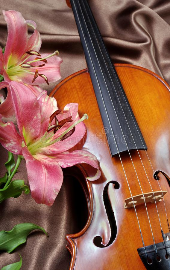 Violin and lily on a silk background. Romantic card stock image