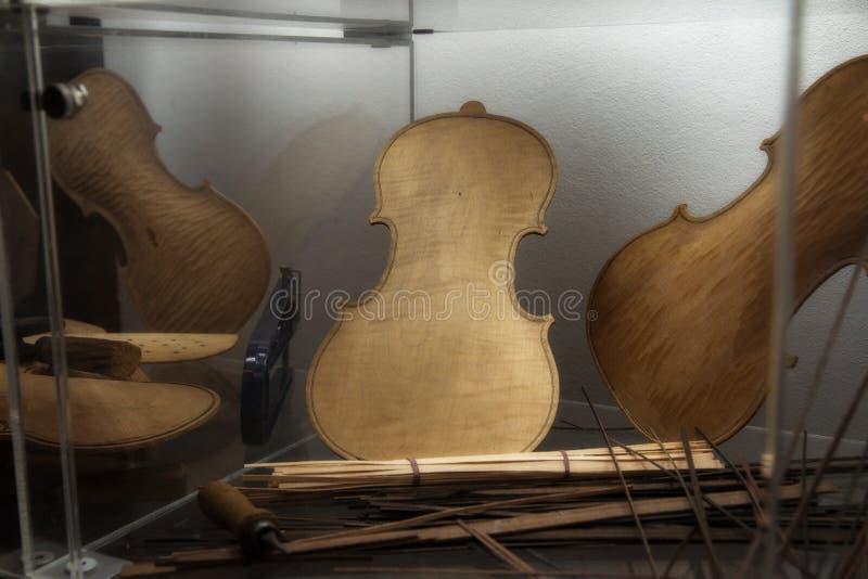 Violin making - Violin maker manufactory royalty free stock image