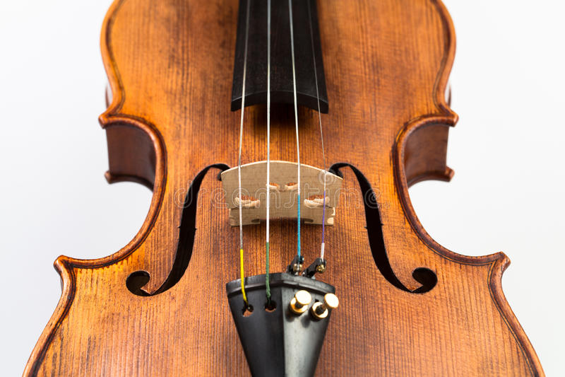 Violin music instrument on white focus on bridge. Violin music instrument white royalty free stock image