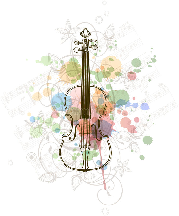 Violin, music sheets on the color paint royalty free illustration