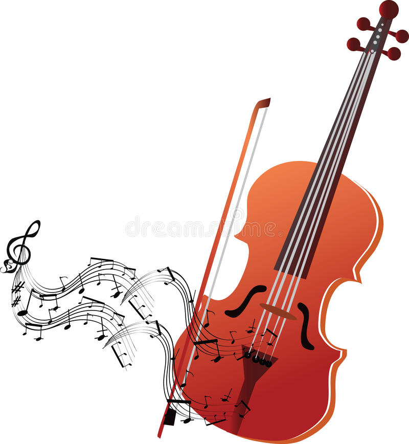 Violin with musical stave stock illustration