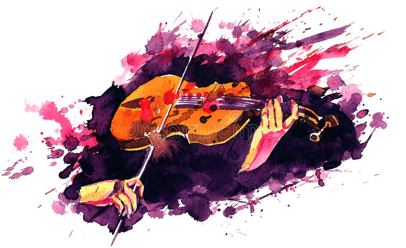 Violin. Musician and magic sounds his violin vector illustration