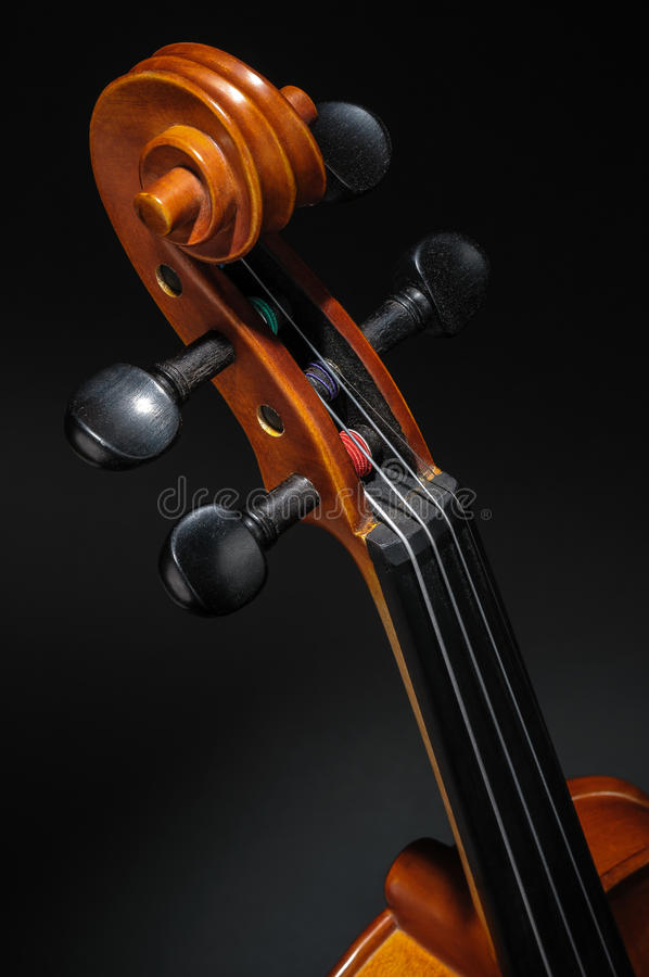 Violin neck, pegbox and scroll detail royalty free stock photos