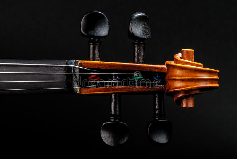 Violin Neck, Pegbox And Scroll Detail Stock Images