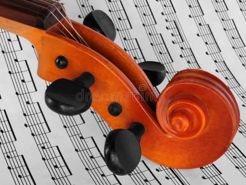 Violin on notes stock images