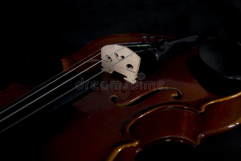 Violin Orchestra Musical Instruments Close Up On Black