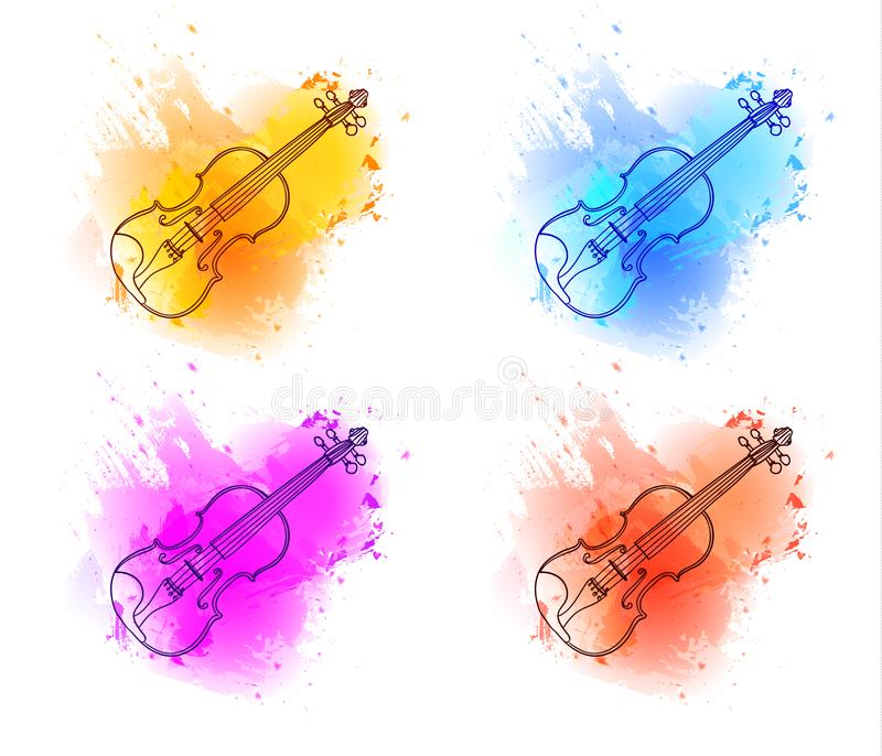 Violin outline drawing, contour line on paint splash abstract background. Isolated on white VECTOR sketches stock illustration