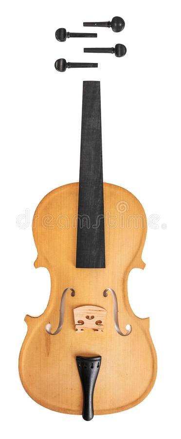 Violin parts. Isolated on white background royalty free stock image