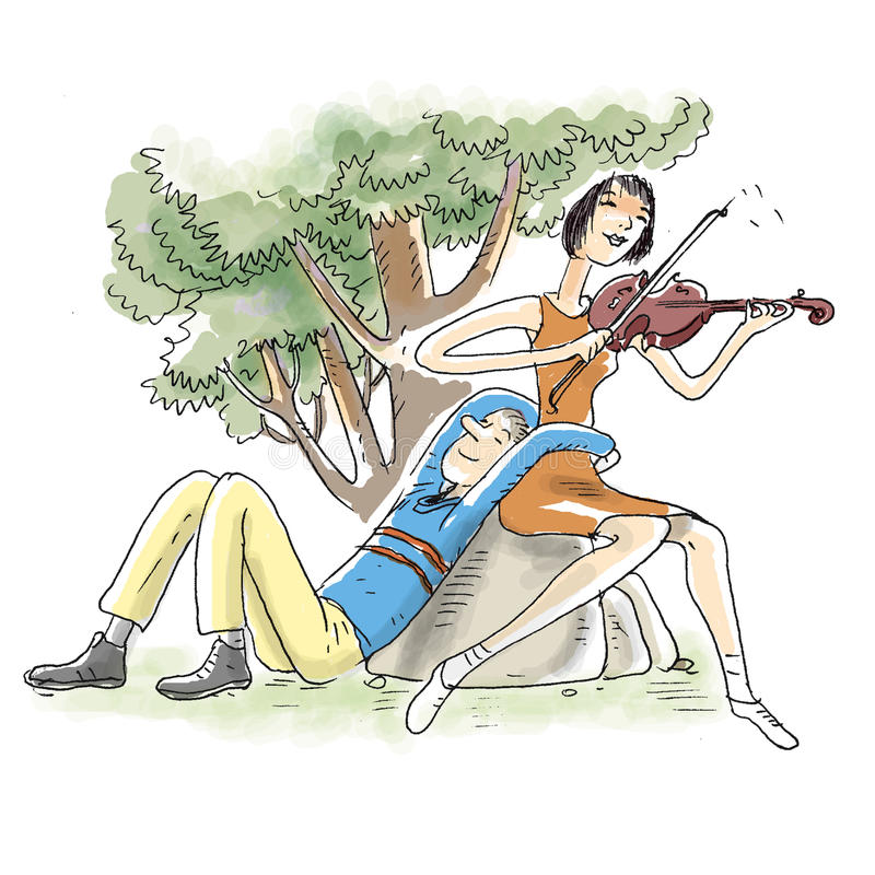 Download Violin playing couple stock illustration. Image of player - 23761668