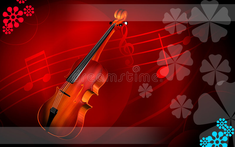 Download Violin  In Red Background Stock Image - Image: 6266851