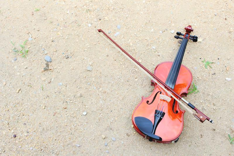 violin on the sand royalty free stock photos