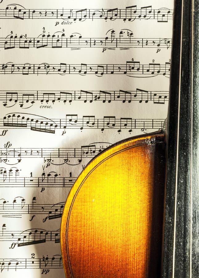 Violin and scores stock photo