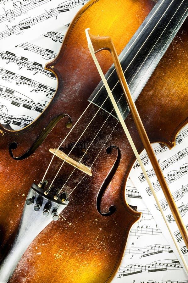 Violin and scores stock photos