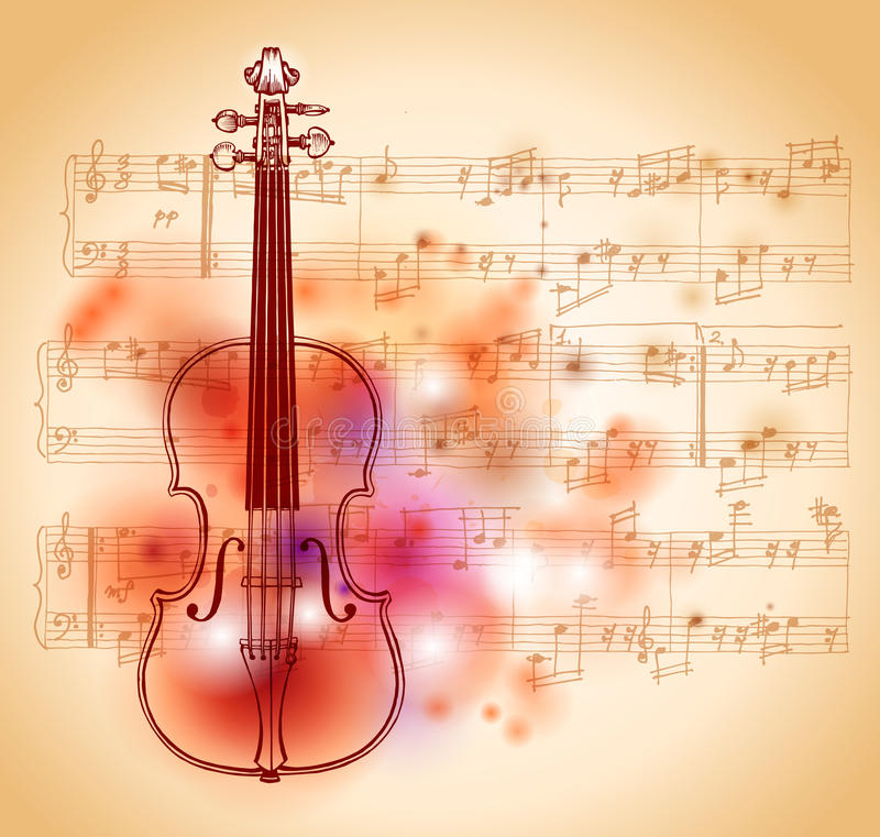 Download Violin and sheet music stock vector. Image of entertainment - 14573342