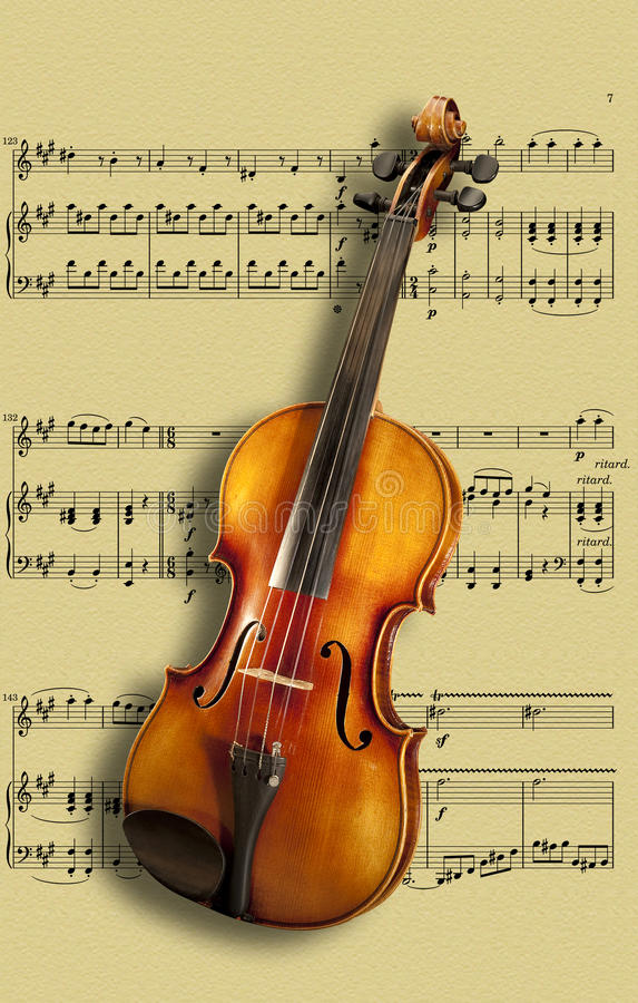 Violin On Sheet Music Royalty Free Stock Photography