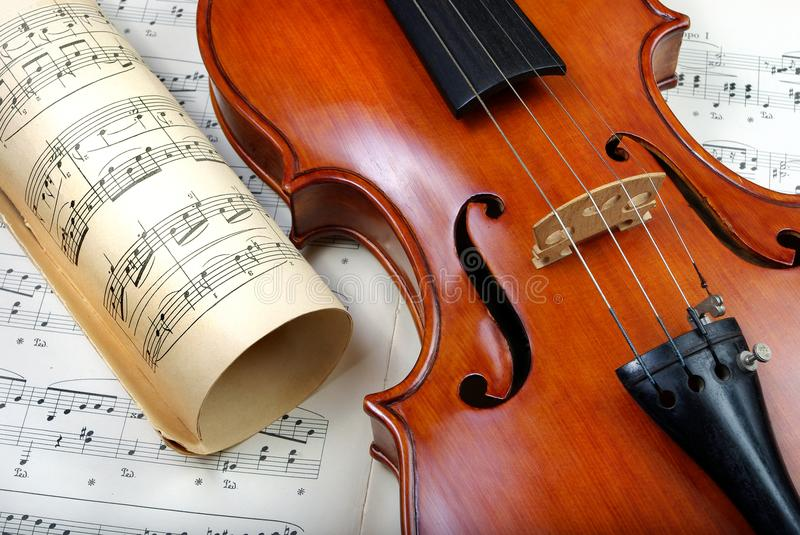Violin on sheet music. close up. top view. stock photography
