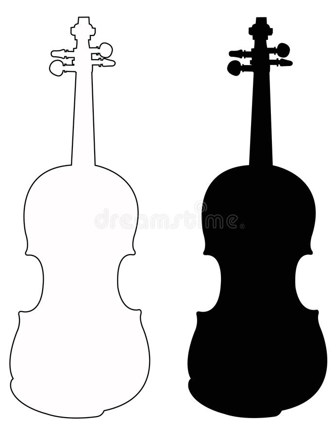 Violin silhouette - fiddle, is a wooden string instrument in the violin family stock illustration