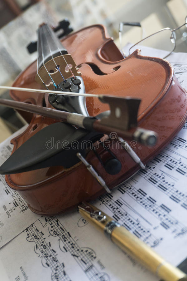 Violin on table royalty free stock image