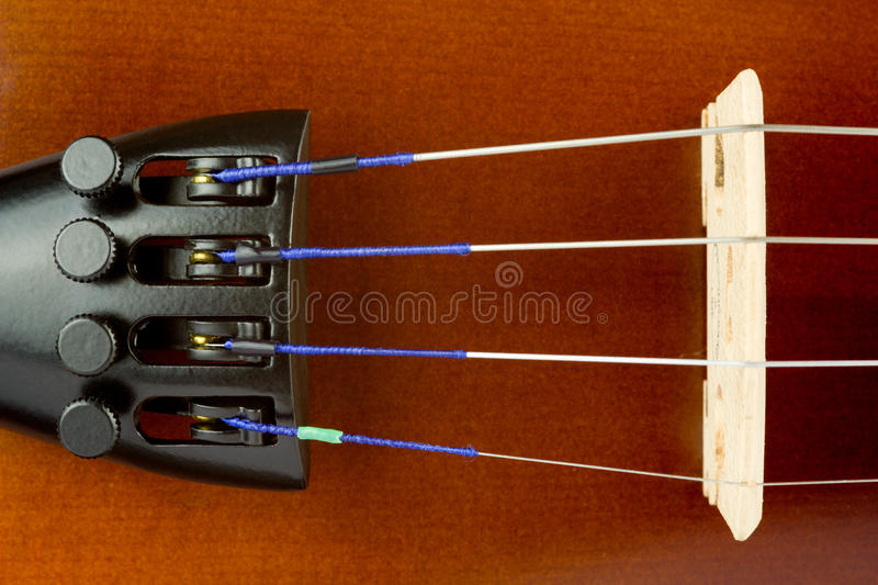 Violin Tailpiece and Bridge Close Up stock photography