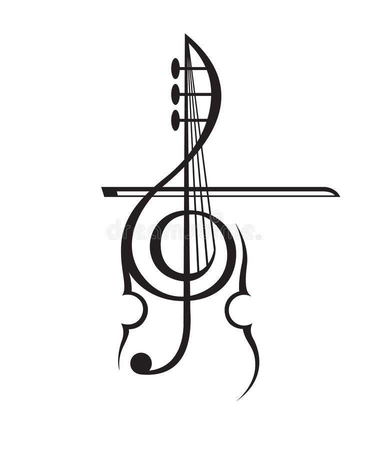 Violin and treble clef. Monochrome illustration of violin and treble clef stock illustration