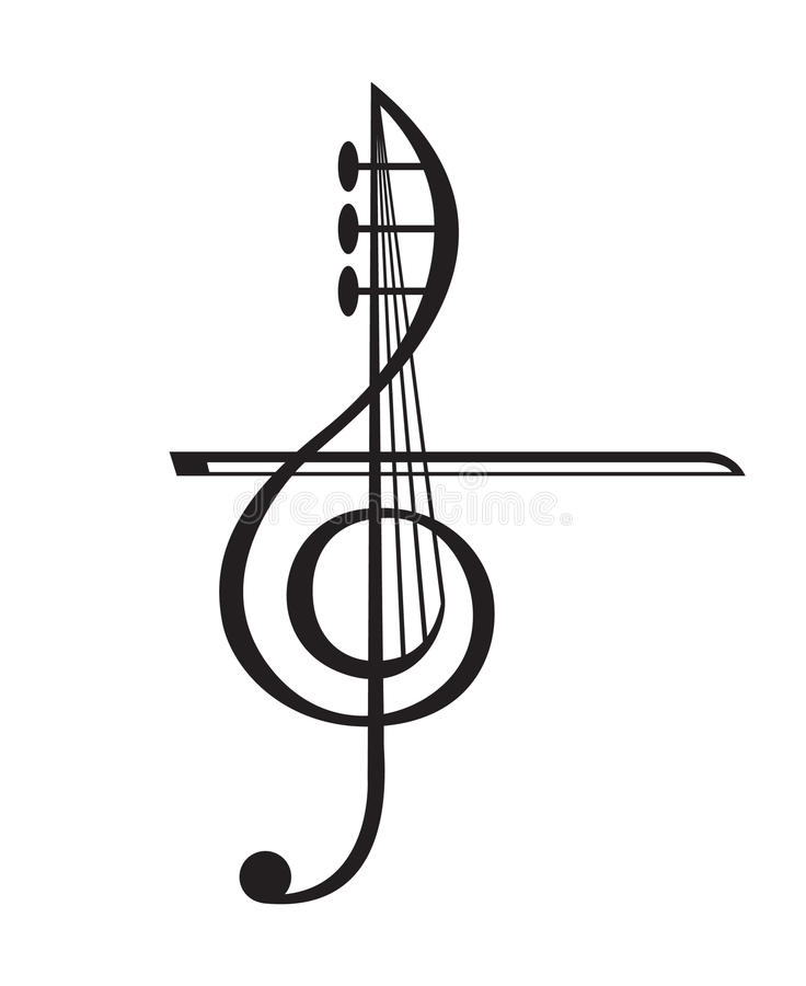 Violin and treble clef. Monochrome illustration of violin and treble clef vector illustration