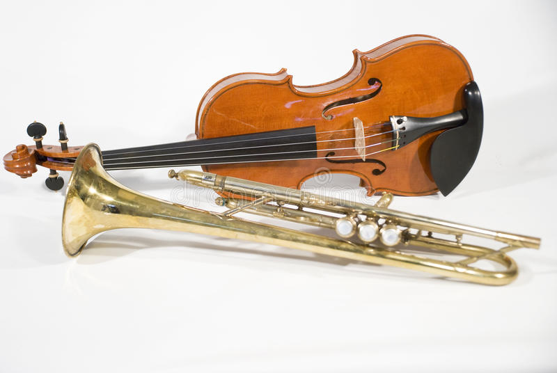 Violin and trumpet stock images