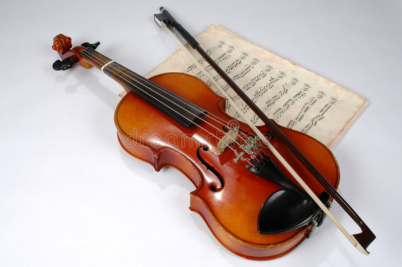 Violin and Vintage Music Sheet. Old violin with vintage music sheet royalty free stock photos