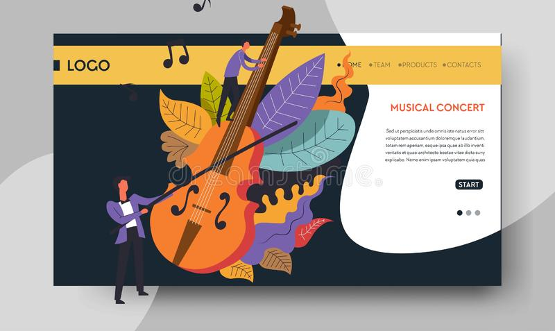 Violin and violinist web page templates music concert. Music concert violin and violinist web page template vector man playing musical instrument art performance vector illustration