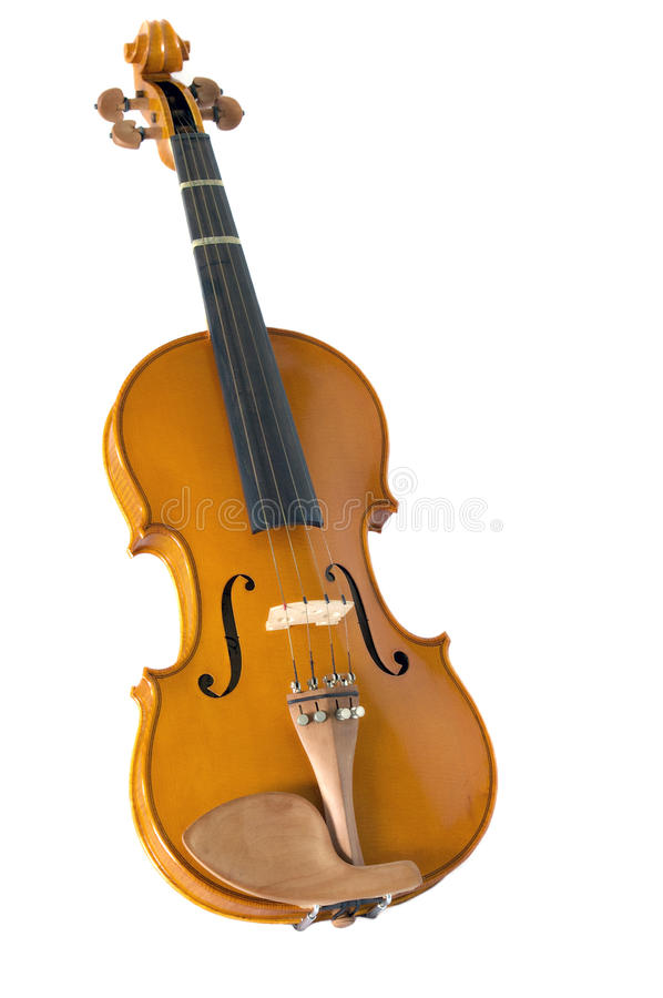 Violin on white. Full image a light violin at an angle on white stock photography