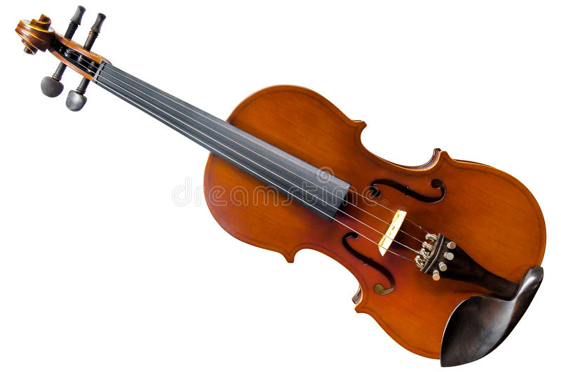 The violin on white background for isolated with clipping path royalty free stock image
