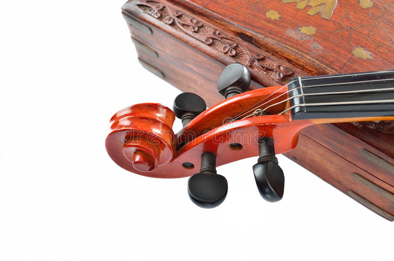 Violin. With wooden box isolated on white background. Music concept stock photography