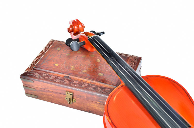 Violin with wooden box. Isolated on white background. Music concept royalty free stock images