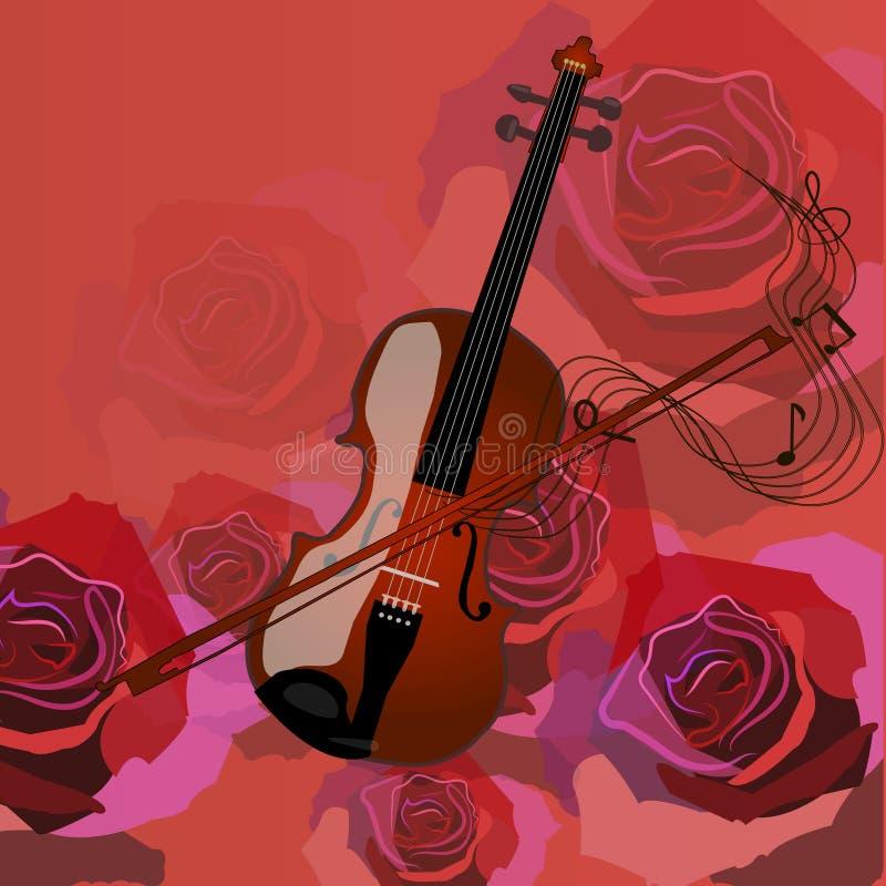 Violine auf einem Rot stockbild