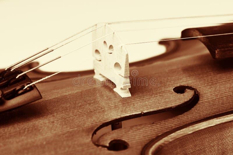 Violine Brücke, hölzerne Violine in der Weinleseart lizenzfreie stockfotografie