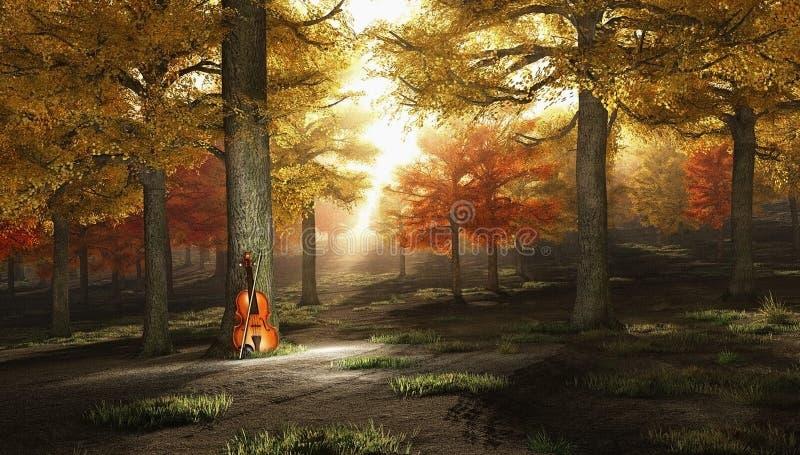 Violine im Herbstpark lizenzfreie abbildung