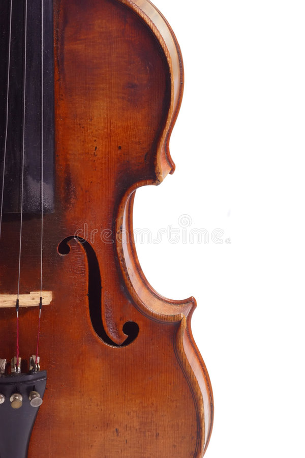Violine isolated. Old violine in Detail isolated on white background stock photo