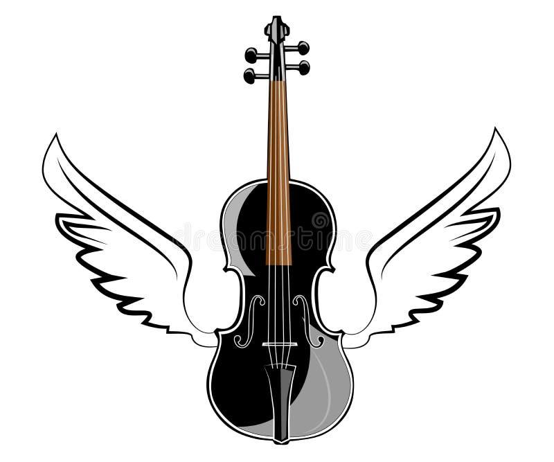 Violine mit Flügeln stock abbildung