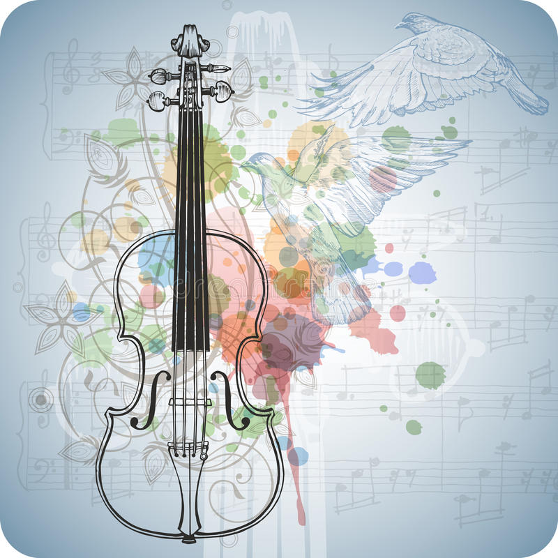 Violine, Musikblätter, fliegende Tauben stock abbildung