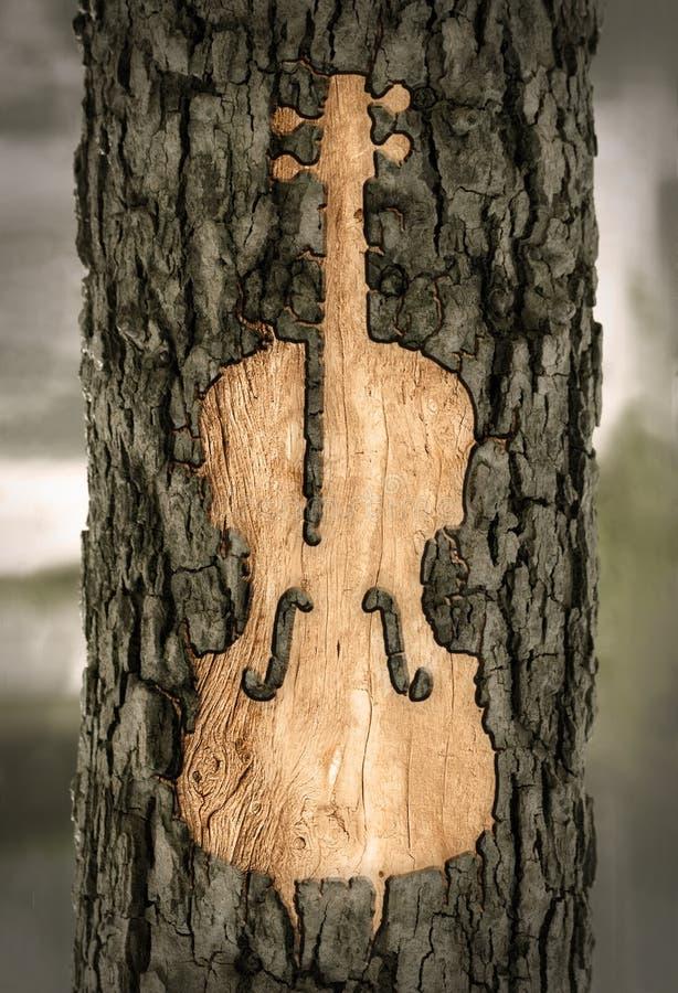 Violine schnitzte in die Barke eines Baums lizenzfreie abbildung