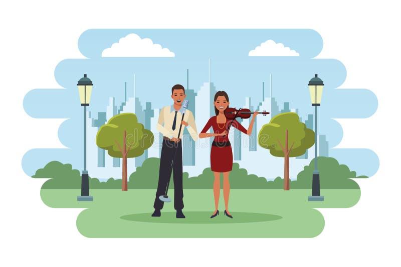 Violine spielender und singender Musiker lizenzfreie abbildung