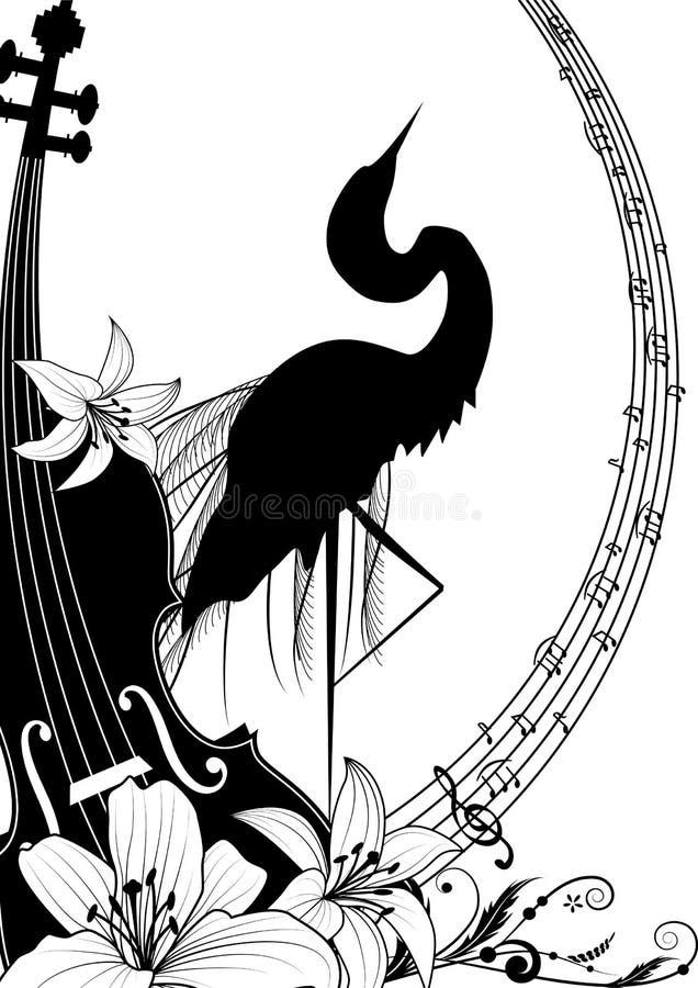 Violine und Reiher stock abbildung
