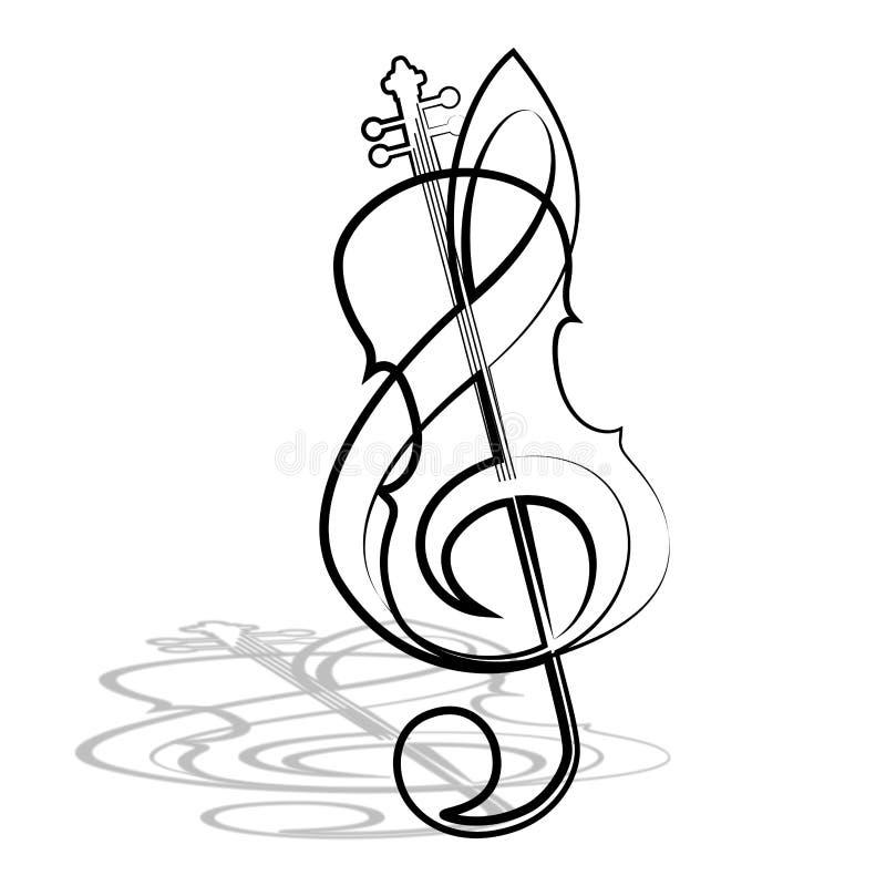 Violine und Violinschlüssel stock abbildung