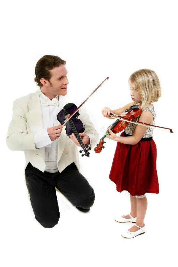 Violinen-Lektion lizenzfreie stockfotografie