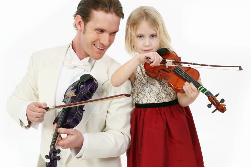 Violinen-Lektion lizenzfreie stockfotos