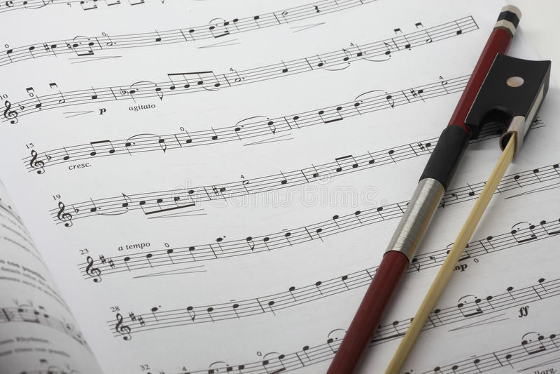 Violinen-Musik-Blatt stockbild