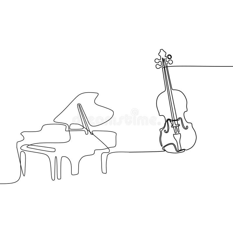 Violinen- und Klaviereins Linie Karikaturillustration des Musikinstrumentorchesters vektor abbildung