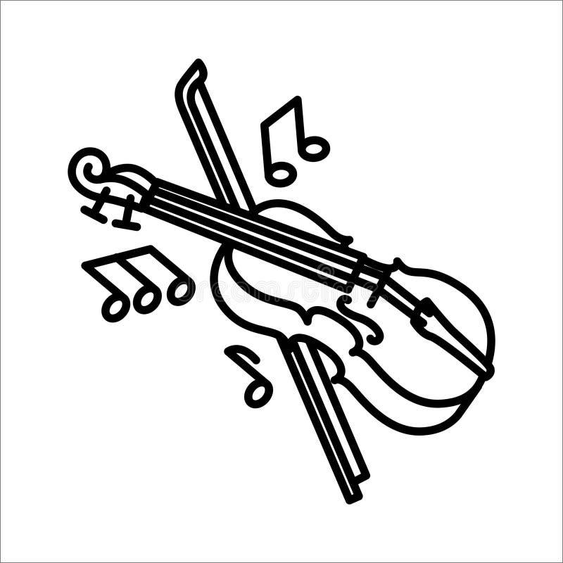 Violinenmusikinstrumentikonen- und -vektorillustration vektor abbildung